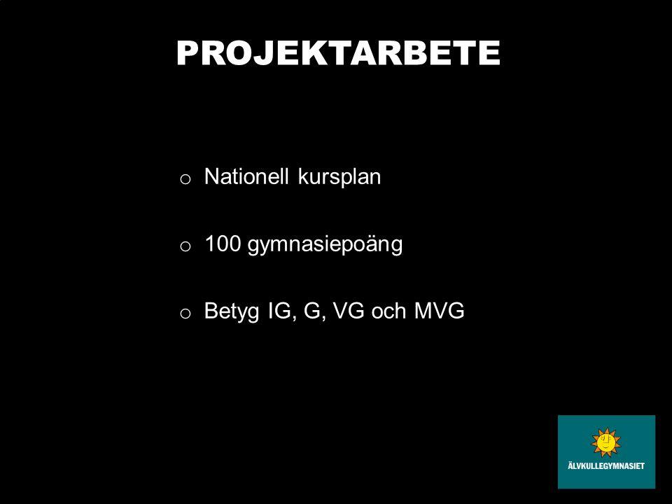 PROJEKTARBETE Nationell kursplan 100 gymnasiepoäng