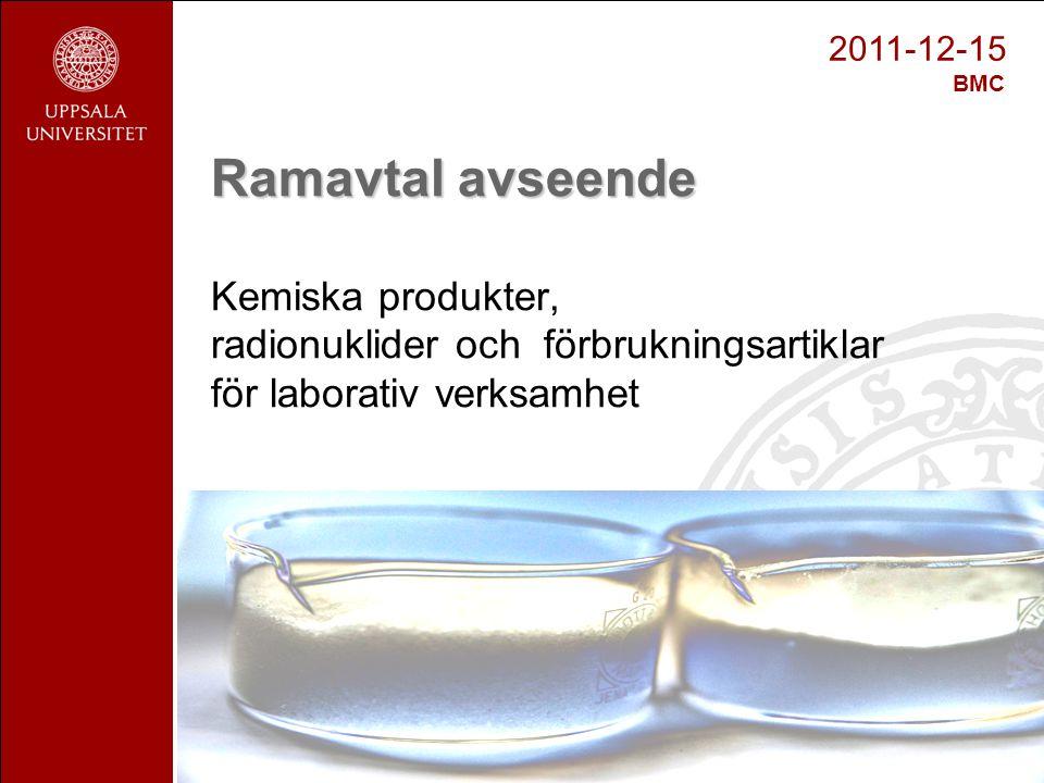 Ramavtal avseende Kemiska produkter, radionuklider och förbrukningsartiklar för laborativ verksamhet