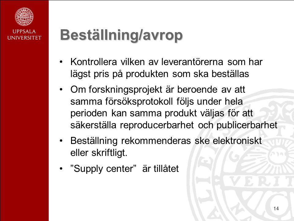 Beställning/avrop Kontrollera vilken av leverantörerna som har lägst pris på produkten som ska beställas.