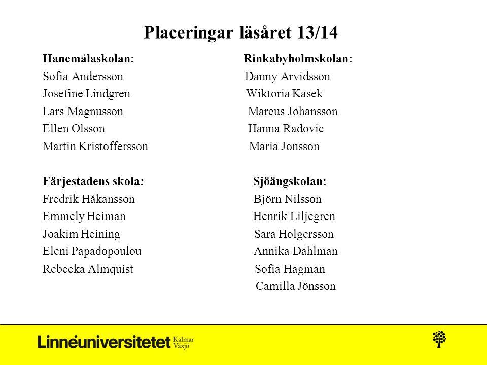 Placeringar läsåret 13/14