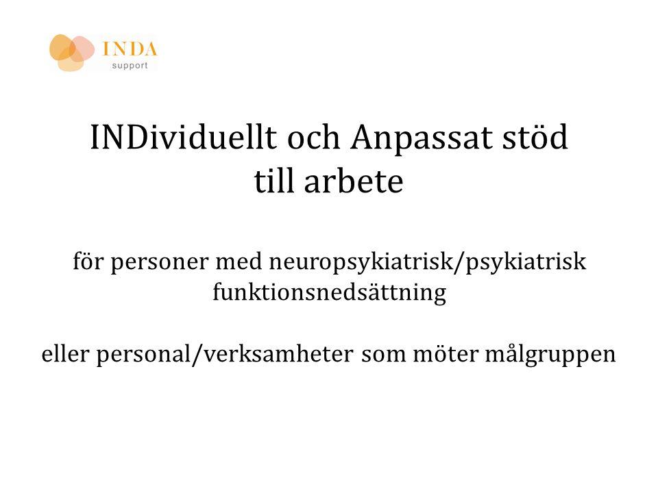 INDividuellt och Anpassat stöd till arbete för personer med neuropsykiatrisk/psykiatrisk funktionsnedsättning eller personal/verksamheter som möter målgruppen