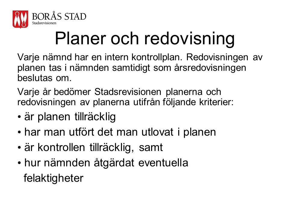 Planer och redovisning