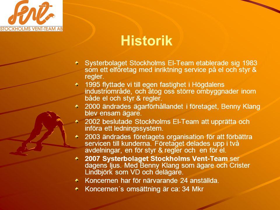 Historik Systerbolaget Stockholms El-Team etablerade sig 1983 som ett elföretag med inriktning service på el och styr & regler.