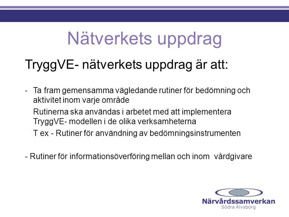 Nätverkets uppdrag TryggVE- nätverkets uppdrag är att: