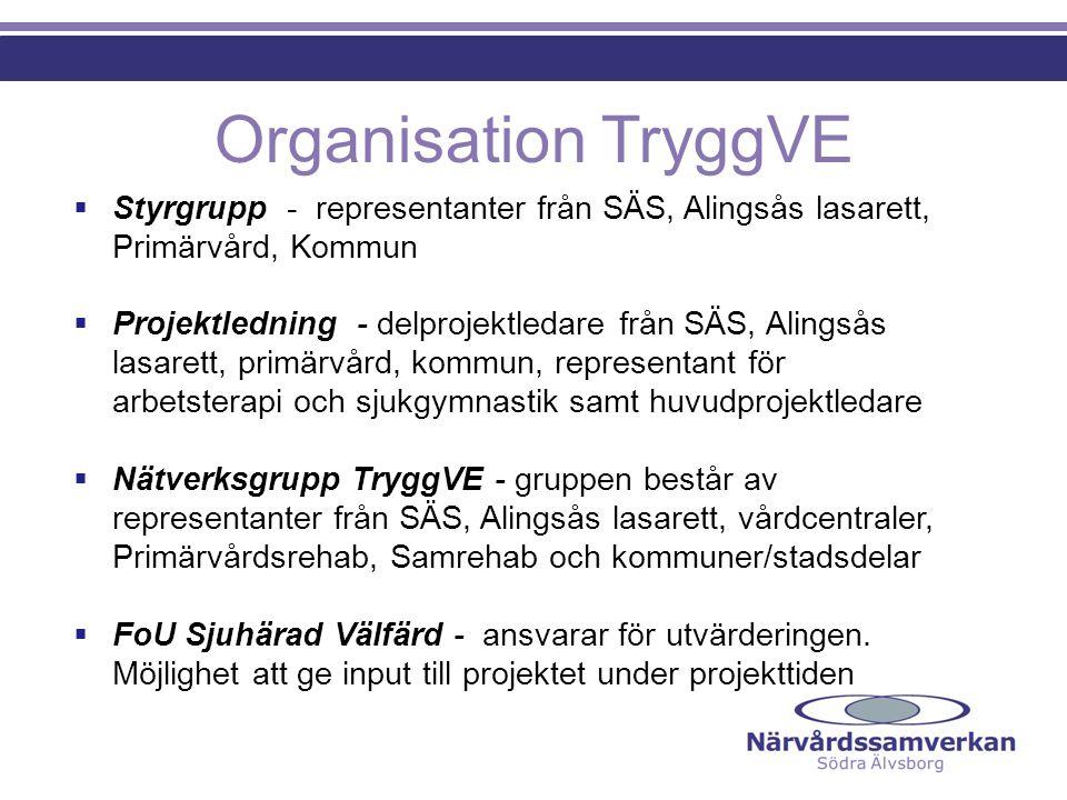 Organisation TryggVE Styrgrupp - representanter från SÄS, Alingsås lasarett, Primärvård, Kommun.