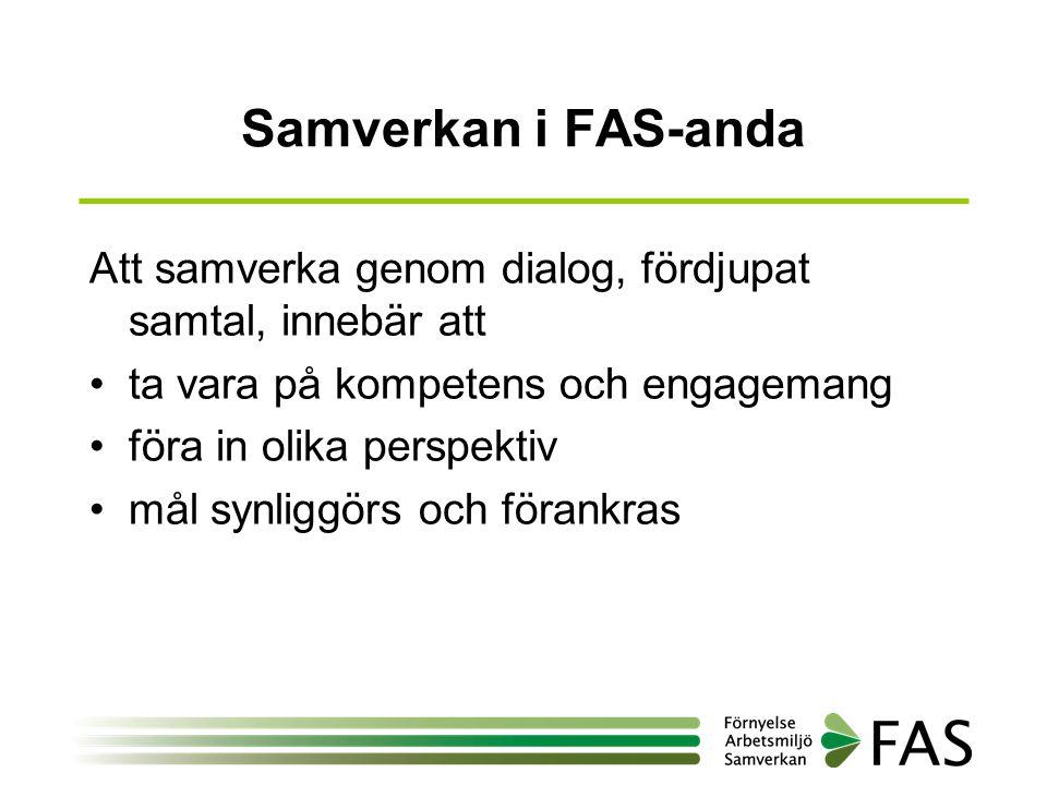 Samverkan i FAS-anda Att samverka genom dialog, fördjupat samtal, innebär att. ta vara på kompetens och engagemang.