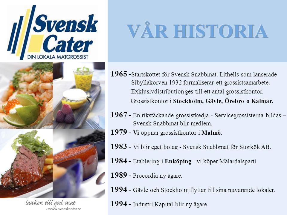 VÅR HISTORIA 1965 -Startskottet för Svensk Snabbmat. Lithells som lanserade. Sibyllakorven 1932 formaliserar ett grossistsamarbete.