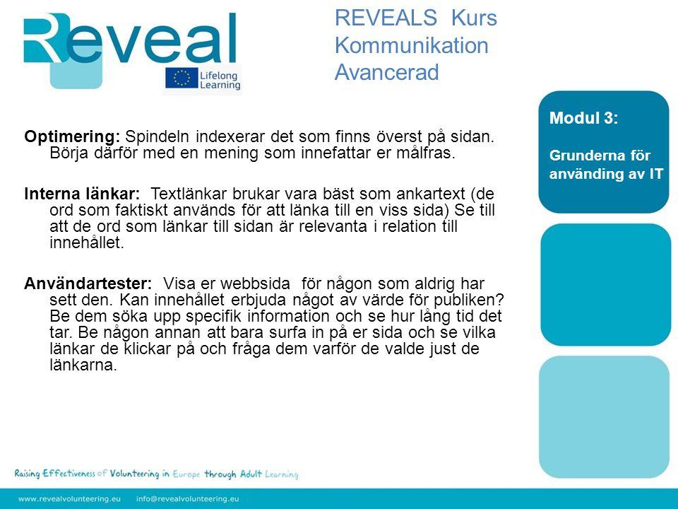 REVEALS Kurs Kommunikation Avancerad Modul 3:
