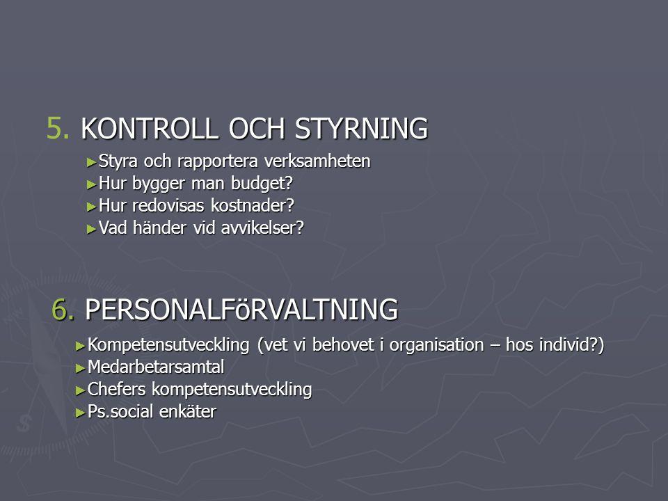 5. KONTROLL OCH STYRNING 6. PERSONALFöRVALTNING