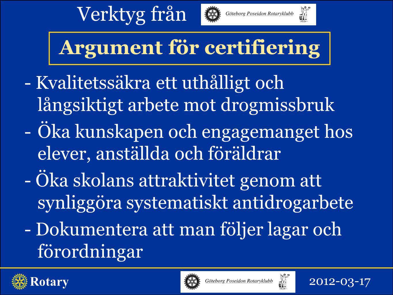 Argument för certifiering