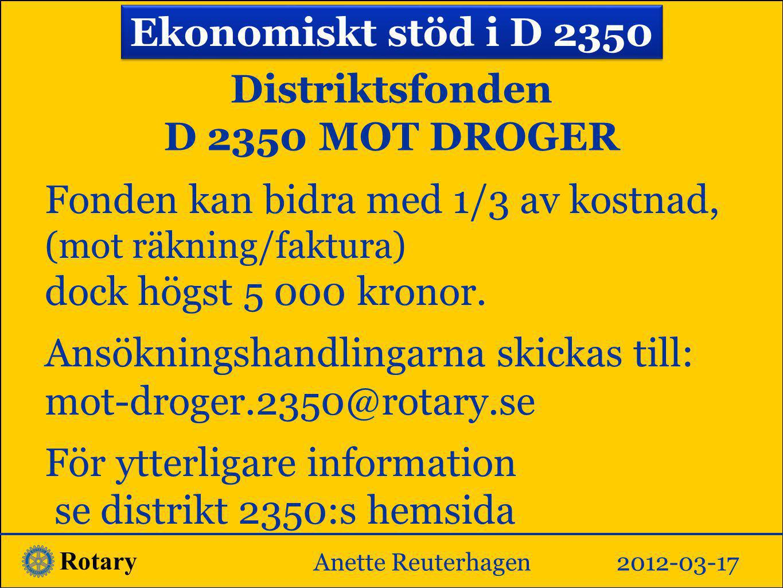 Distriktsfonden D 2350 MOT DROGER