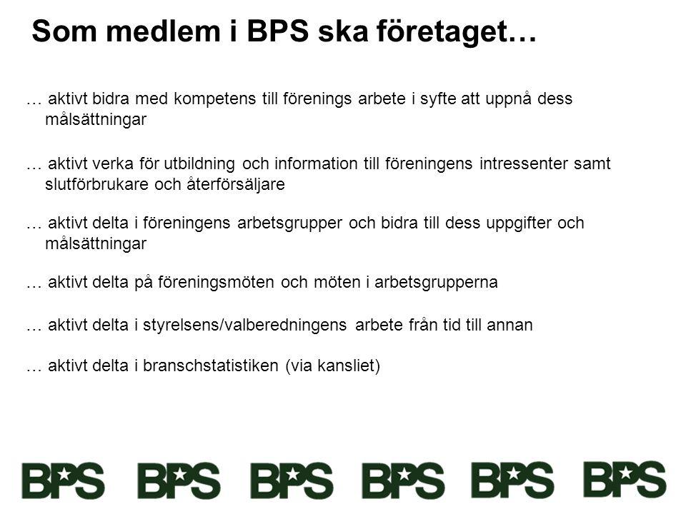 Som medlem i BPS ska företaget…