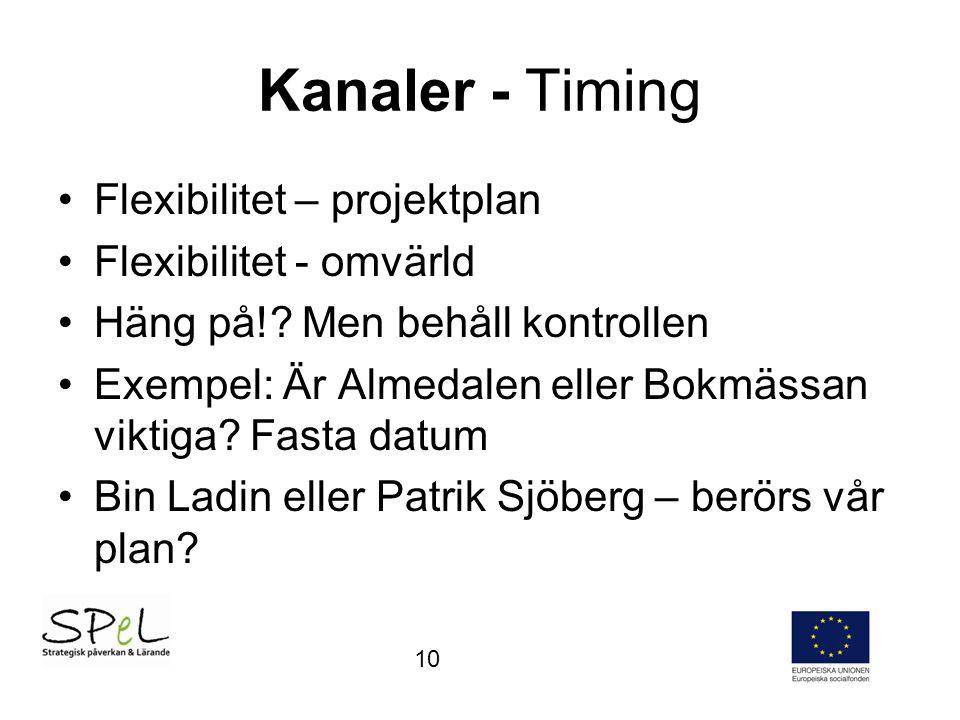 Kanaler - Timing Flexibilitet – projektplan Flexibilitet - omvärld