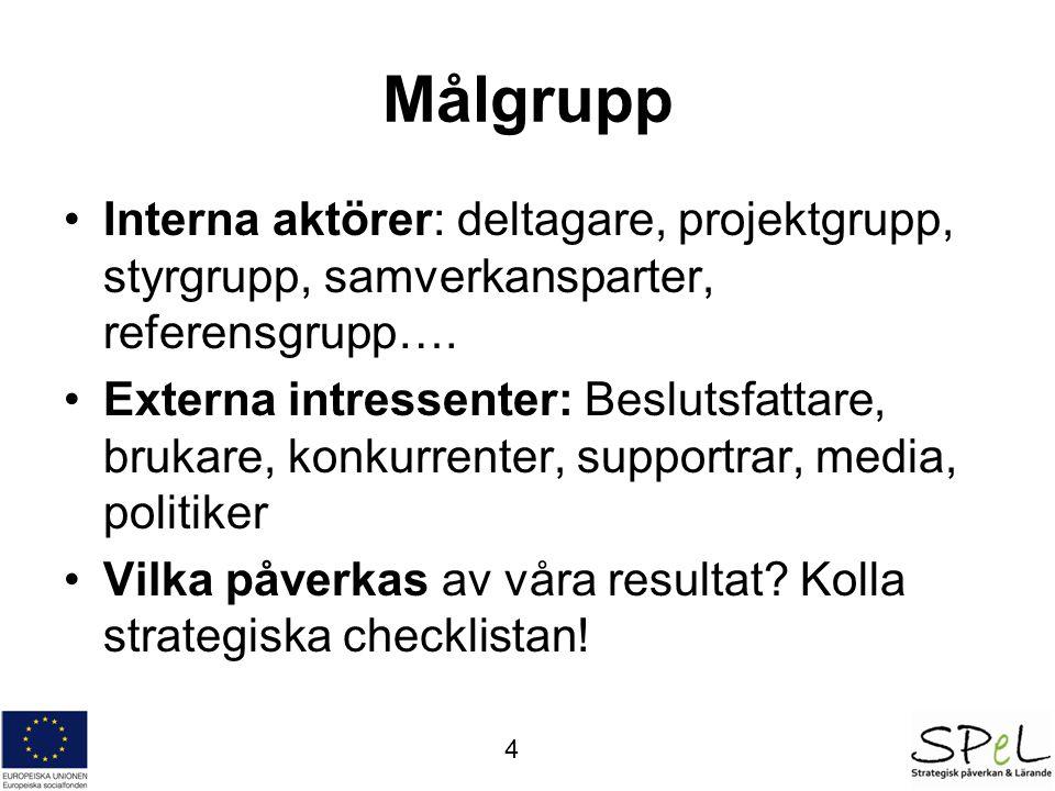 Målgrupp Interna aktörer: deltagare, projektgrupp, styrgrupp, samverkansparter, referensgrupp….