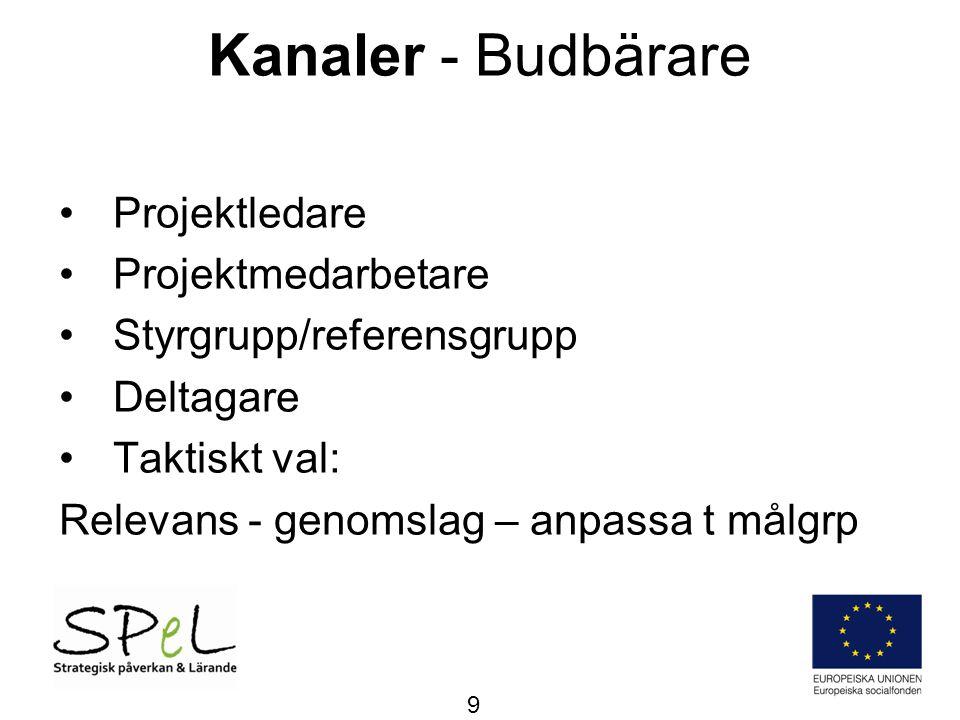 Kanaler - Budbärare Projektledare Projektmedarbetare
