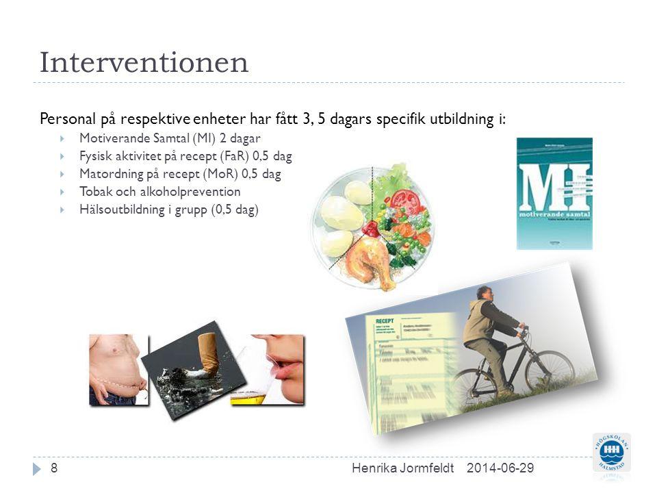 Interventionen Personal på respektive enheter har fått 3, 5 dagars specifik utbildning i: Motiverande Samtal (MI) 2 dagar.