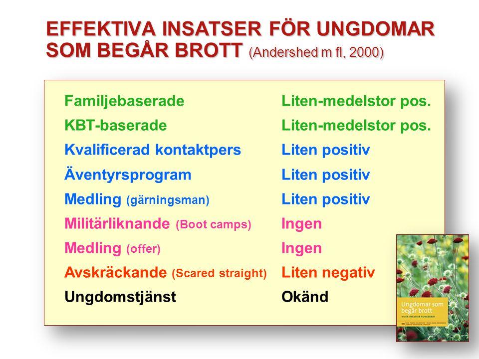EFFEKTIVA INSATSER FÖR UNGDOMAR SOM BEGÅR BROTT (Andershed m fl, 2000)
