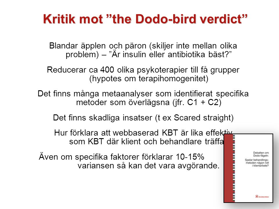 Kritik mot the Dodo-bird verdict