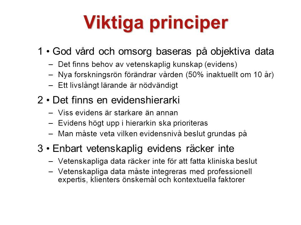 Viktiga principer 1 • God vård och omsorg baseras på objektiva data