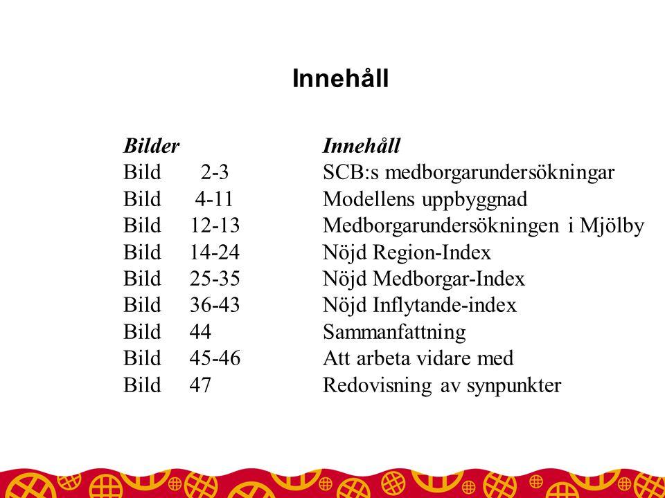 Innehåll Bilder Innehåll Bild 2-3 SCB:s medborgarundersökningar