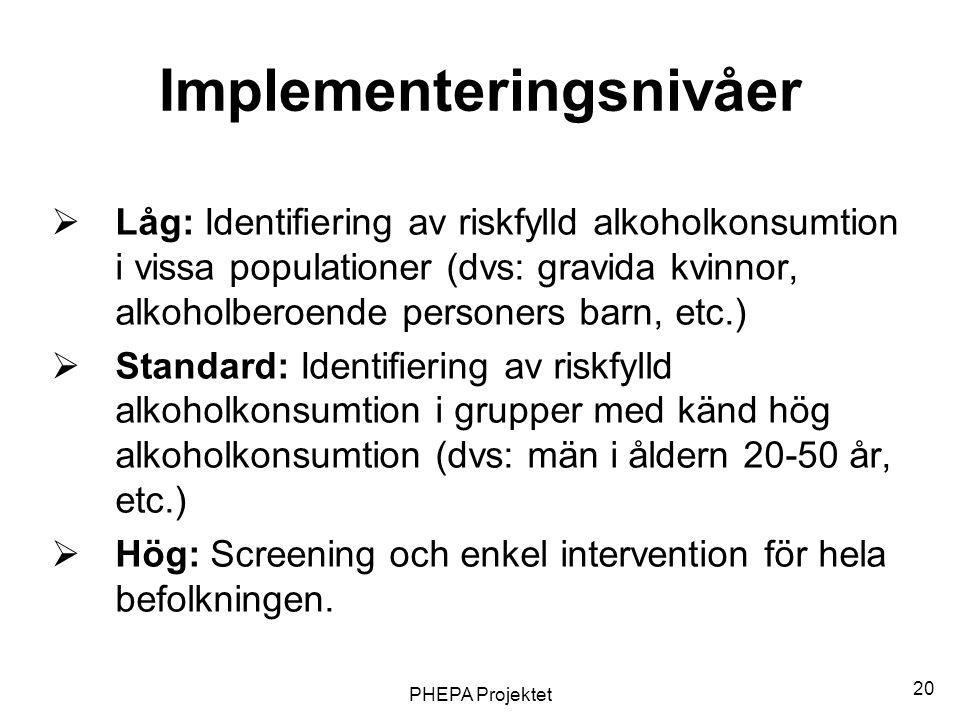 Implementeringsnivåer