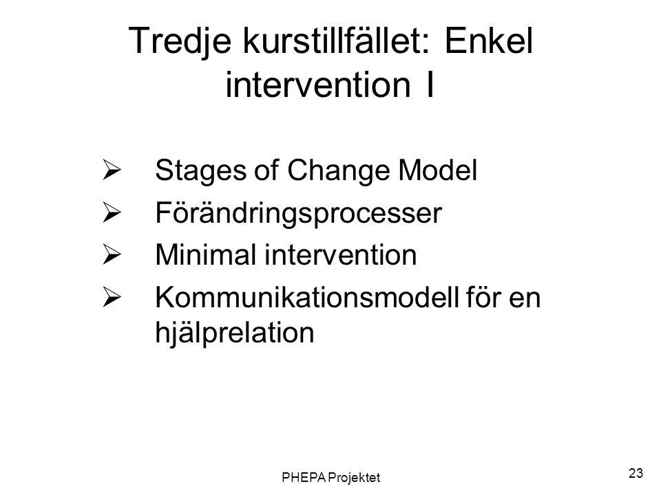 Tredje kurstillfället: Enkel intervention I