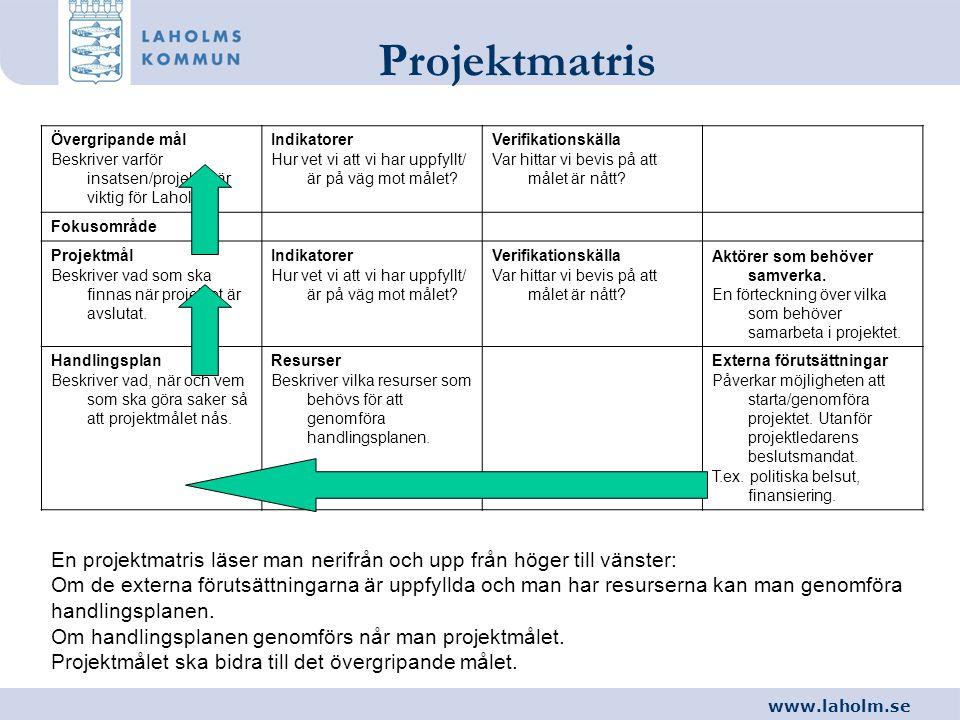 Projektmatris Övergripande mål. Beskriver varför insatsen/projektet är viktig för Laholm. Indikatorer.