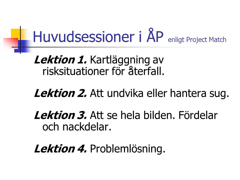 Huvudsessioner i ÅP enligt Project Match