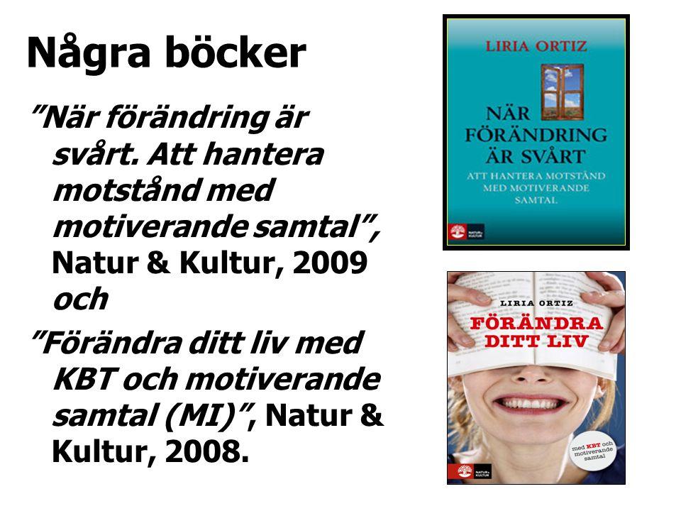 Några böcker När förändring är svårt. Att hantera motstånd med motiverande samtal , Natur & Kultur, 2009 och.