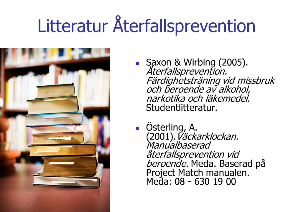 Litteratur Återfallsprevention