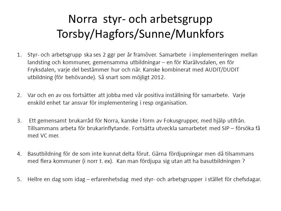 Norra styr- och arbetsgrupp Torsby/Hagfors/Sunne/Munkfors