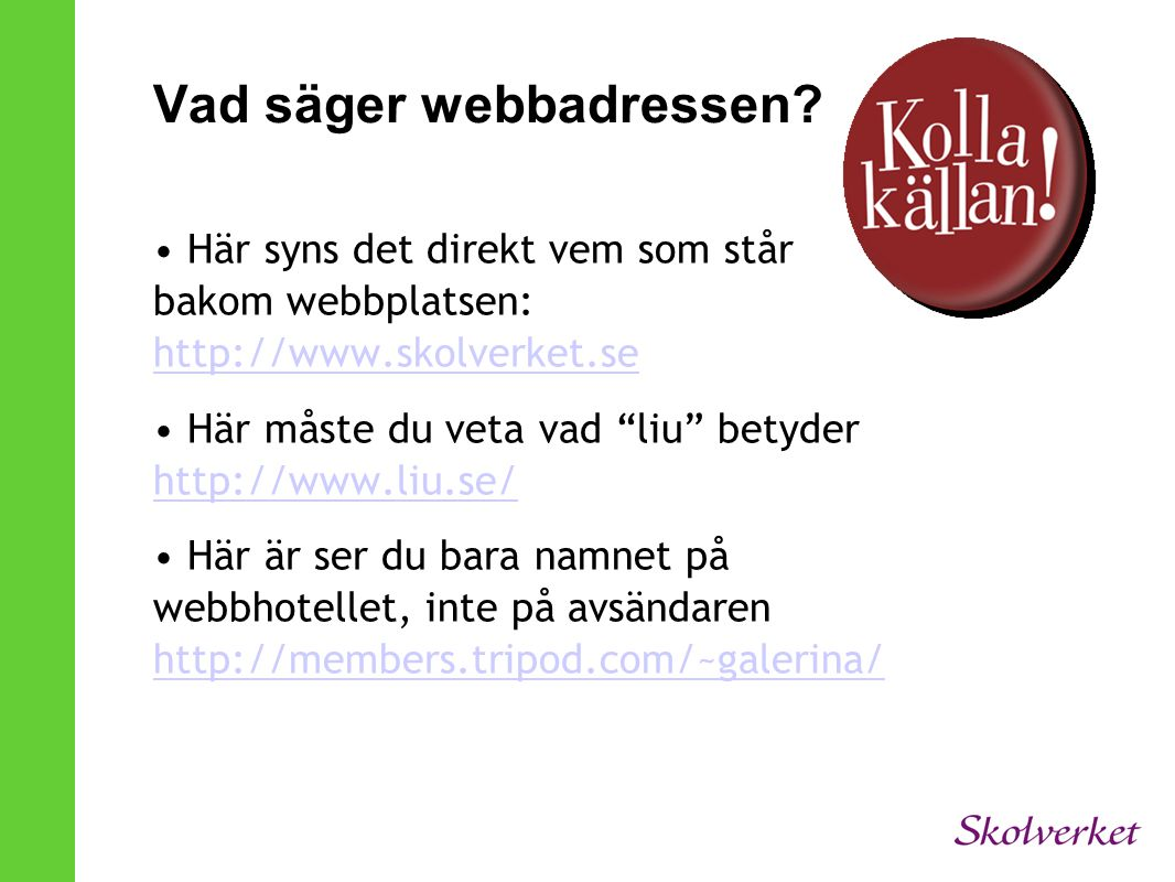 Vad säger webbadressen