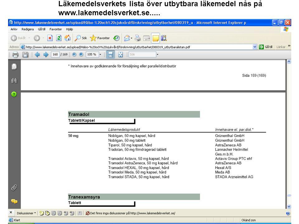 Läkemedelsverkets lista över utbytbara läkemedel nås på www