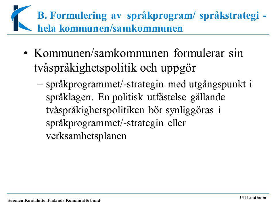Kommunen/samkommunen formulerar sin tvåspråkighetspolitik och uppgör