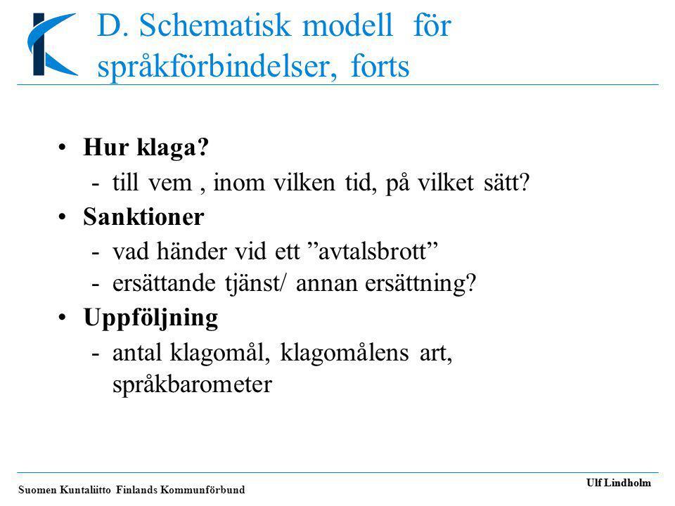 D. Schematisk modell för språkförbindelser, forts