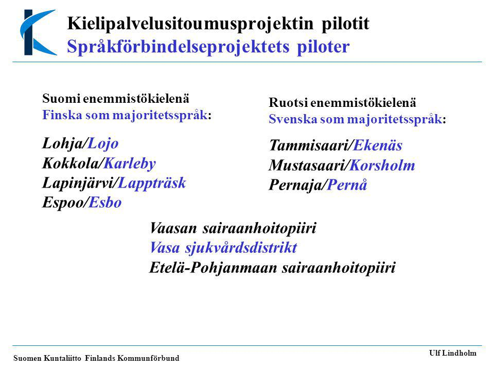 Kielipalvelusitoumusprojektin pilotit Språkförbindelseprojektets piloter