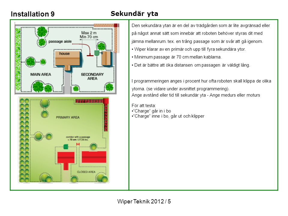 Installation 9 Sekundär yta Wiper Teknik 2012 / 5