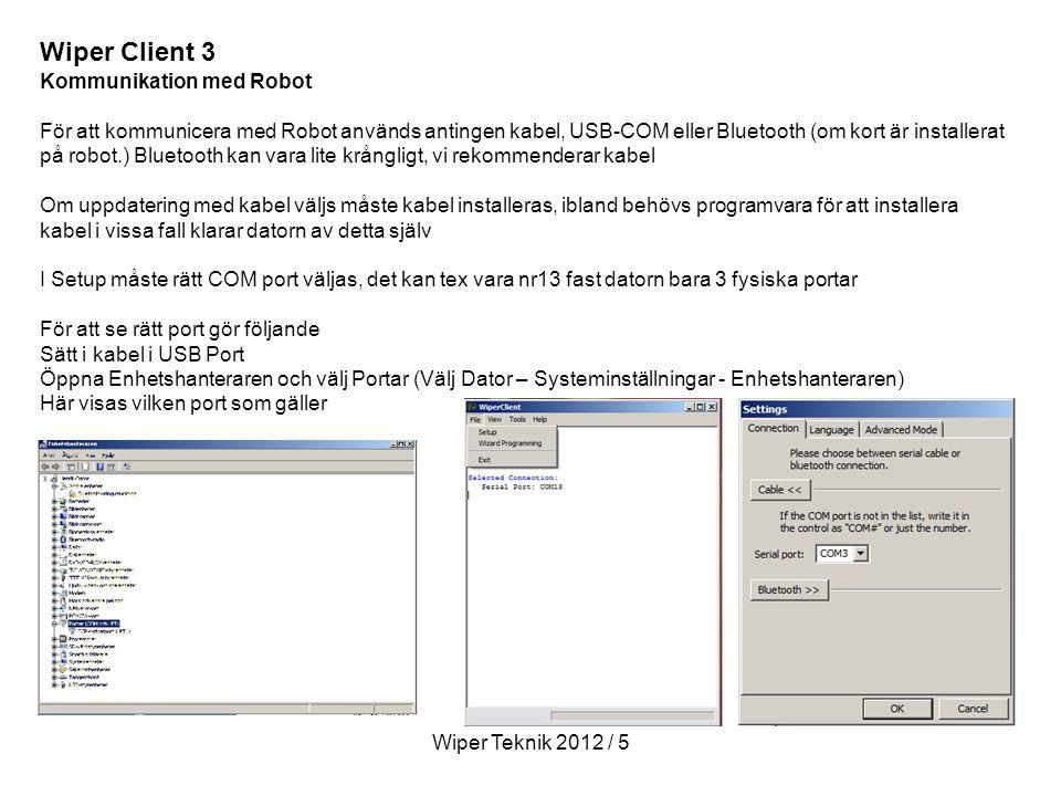 Wiper Client 3 Kommunikation med Robot