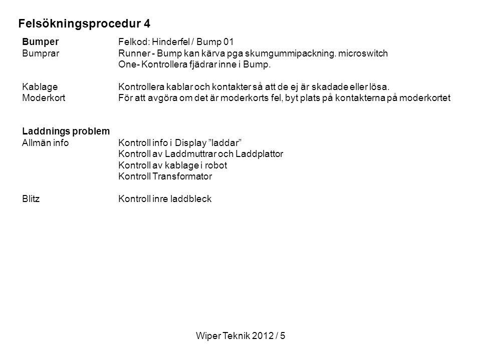 Felsökningsprocedur 4 Bumper Felkod: Hinderfel / Bump 01