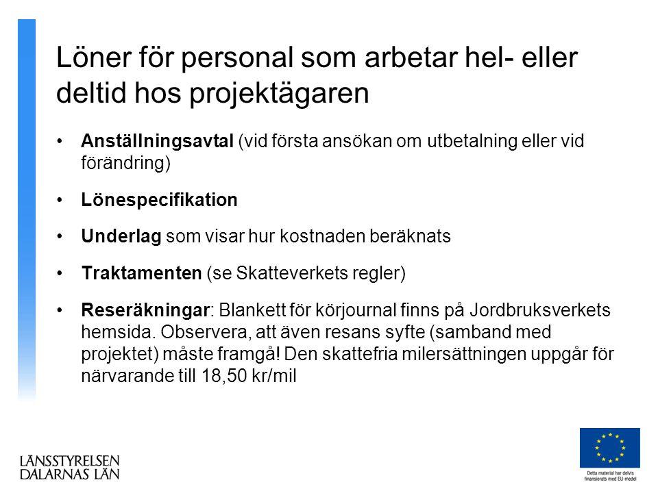 Löner för personal som arbetar hel- eller deltid hos projektägaren