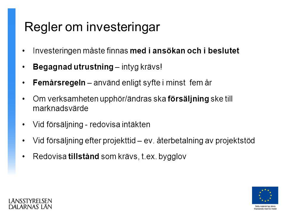Regler om investeringar