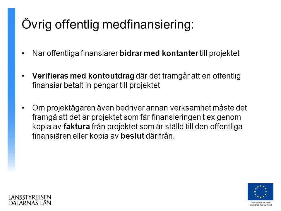 Övrig offentlig medfinansiering: