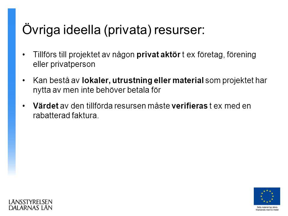 Övriga ideella (privata) resurser: