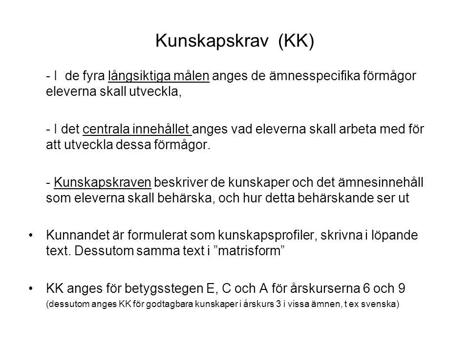 Kunskapskrav (KK) - I de fyra långsiktiga målen anges de ämnesspecifika förmågor eleverna skall utveckla,