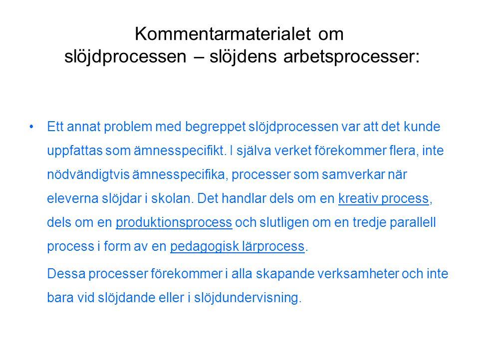 Kommentarmaterialet om slöjdprocessen – slöjdens arbetsprocesser:
