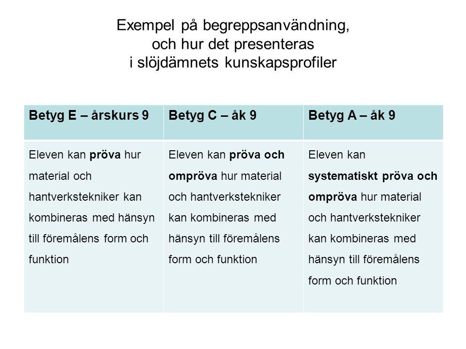 Exempel på begreppsanvändning, och hur det presenteras i slöjdämnets kunskapsprofiler