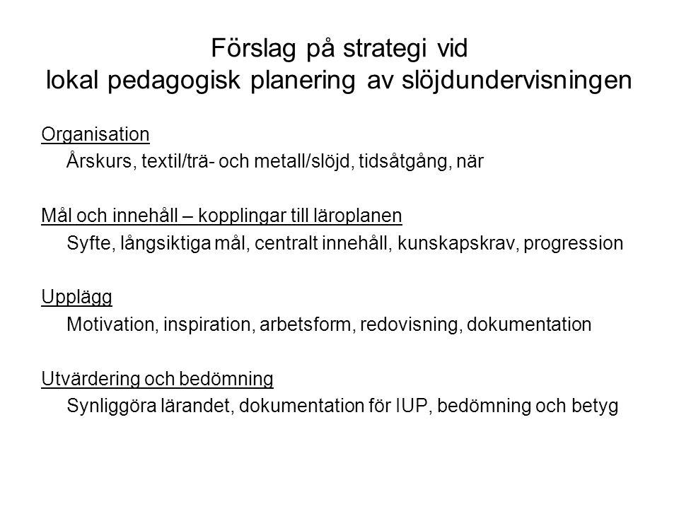 Förslag på strategi vid lokal pedagogisk planering av slöjdundervisningen