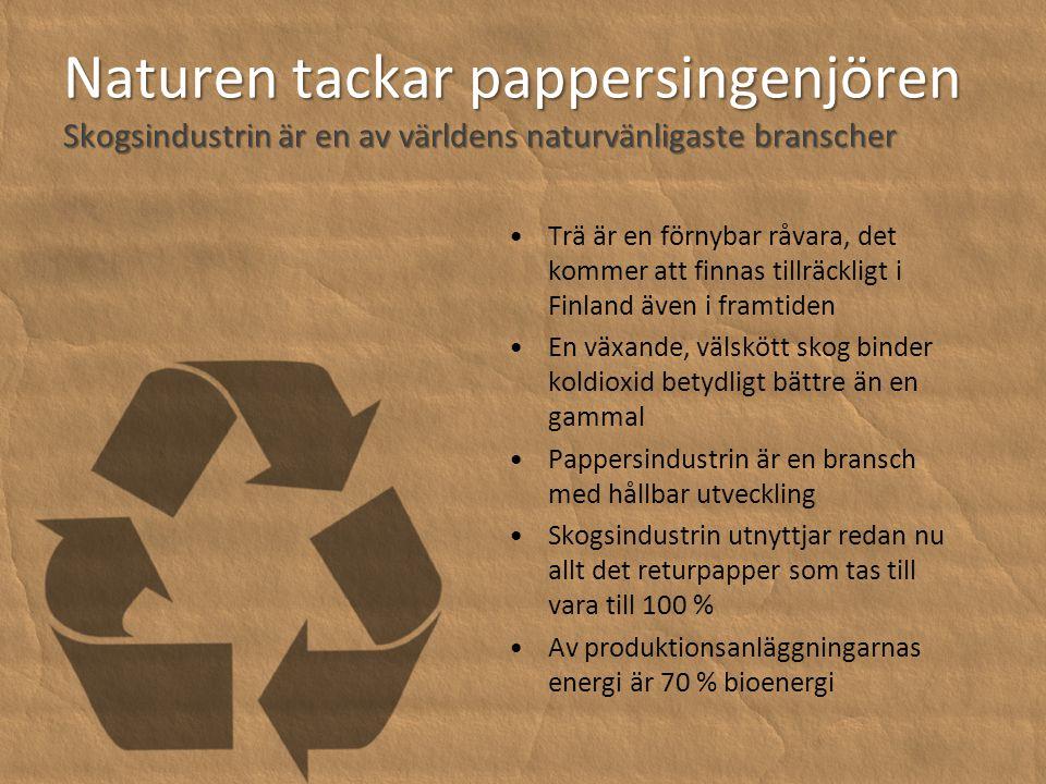 Naturen tackar pappersingenjören Skogsindustrin är en av världens naturvänligaste branscher