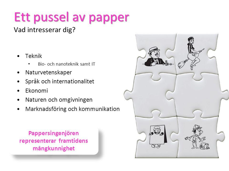 Ett pussel av papper Vad intresserar dig