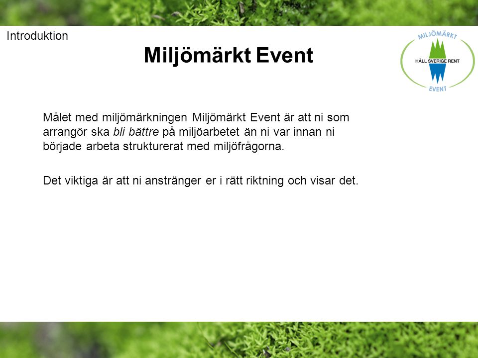 Miljömärkt Event Introduktion